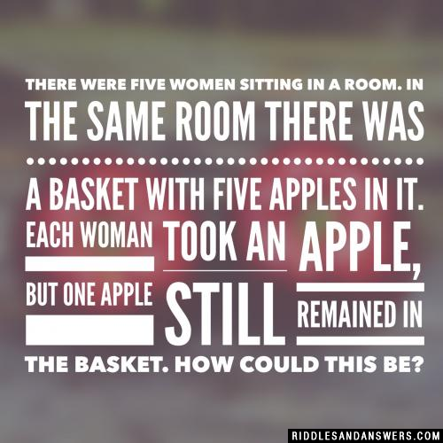 There were five women sitting in a room. In the same room there was a basket with five apples in it. Each woman took an apple, but one apple still remained in the basket. How could this be?