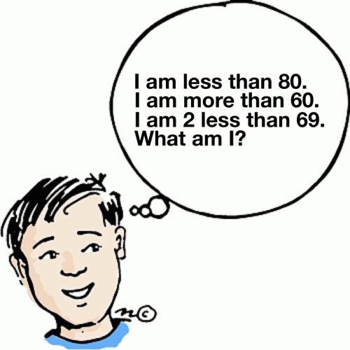 I am less than 80. I am more than 60. I am 2 less than 69. What am I?
