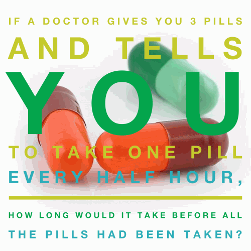 If a doctor gives you 3 pills and tells you to take one pill every half hour, how long would it take before all the pills had been taken?