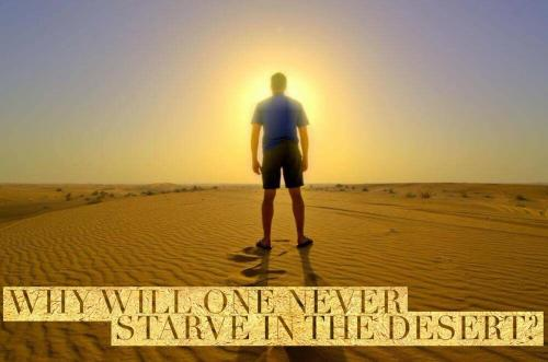 Why will one never starve in the desert?