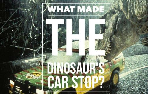 What made the dinosaur's car stop?