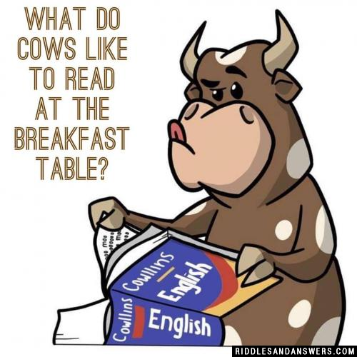 What do cows like to read at the breakfast table?