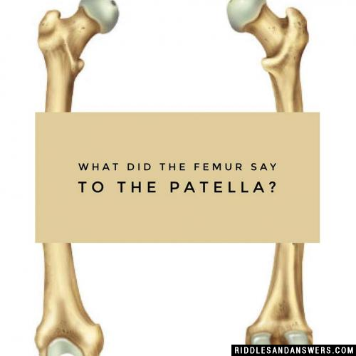 What did the femur say to the patella?