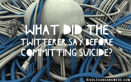 What did the twitterer say before committing suicide?