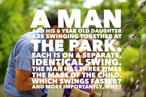 A man and his 6 year old daughter are swinging together at the park. Each is on a separate, identical swing. The man has three times the mass of the child. 