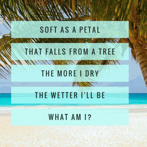 Soft as a petal that falls from a tree. The more I dry the wetter I'll be. What Am I?
