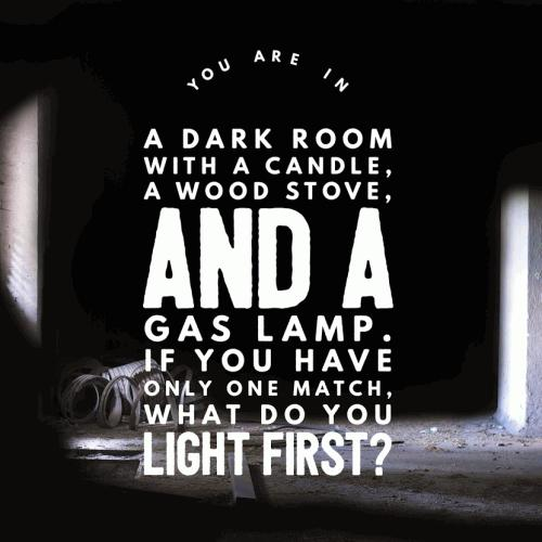 You are in a dark room with a candle, a wood stove, and a gas lamp. If you have only one match, what do you light first?