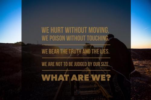 We hurt without moving. We poison without touching. We bear the truth and the lies. We are not to be judged by our size. What are we?