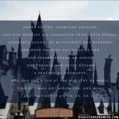 Harry Potter, Hermione Granger, and Ron Weasley all graduated from their School: Hogwarts School of Witchcraft and Wizardry and were heading out to get a job. One person became an Auror, one trained and later became a teacher at Hogwarts, and one got a job at the Ministry of Magic. Find out who got which job, and what age they got it at. (19, 20, or 21.)