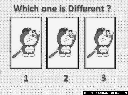 There are three Doraemon images in the given picture. One of them is slightly different than the other two. Can you find out which one is different?