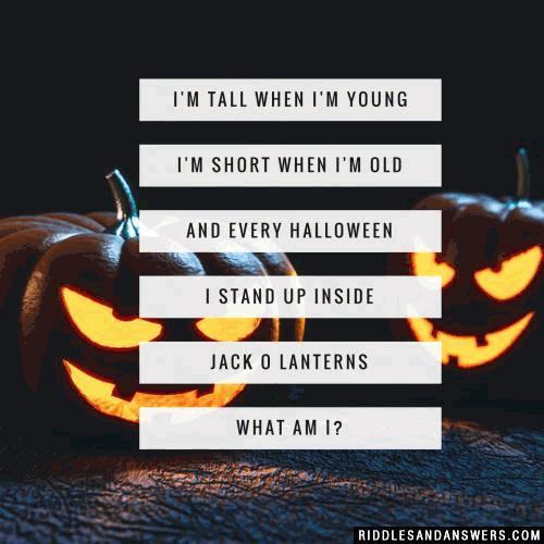 I'm tall when I'm young, I'm short when I'm old, and every Halloween I stand up inside Jack O Lanterns. What am I?