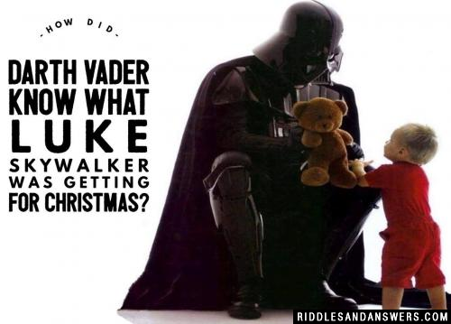How did Darth Vader know what Luke Skywalker was getting for Christmas?