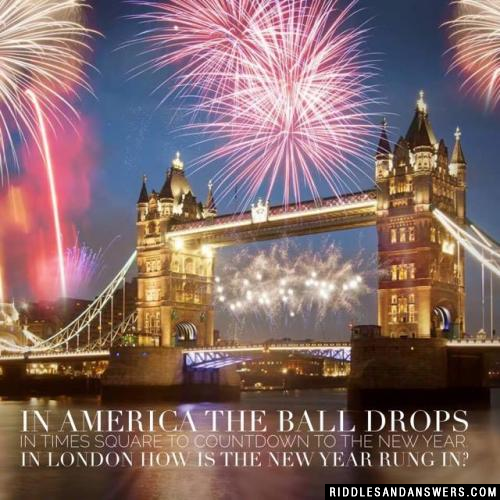 In America the ball drops in Times Square to countdown to the New Year. In London how is the New Year rung in?