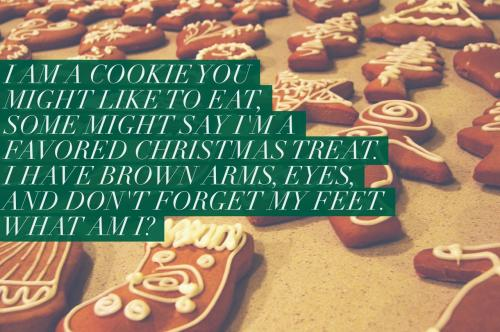 I am a cookie you might like to eat, some might say I'm a favored Christmas treat. I have brown arms, eyes, and don't forget my feet. What am I?
