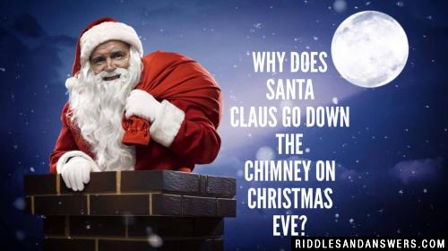 Why does Santa Claus go down the chimney on Christmas Eve?