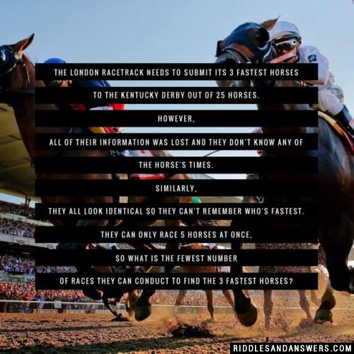 The London Racetrack needs to submit its 3 fastest horses to the Kentucky Derby out of 25 horses. However, all of their information was lost and they don't know any of the horse's times. Similarly, they all look identical so they can't remember who's fastest.
