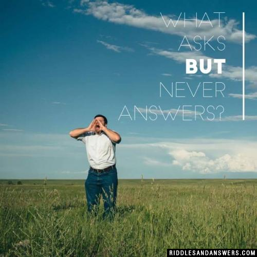 What asks but never answers?