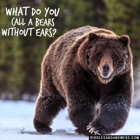 What do you call a bears without ears?