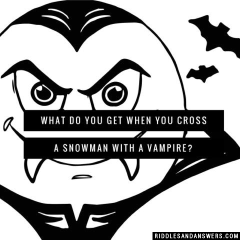 What do you get when you cross a snowman with a vampire?
