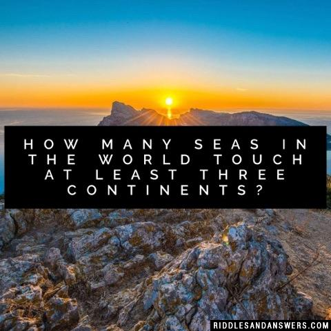 How many seas in the world touch at least three continents?
