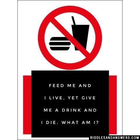 Feed me and I live, yet give me a drink and I die. What am I?