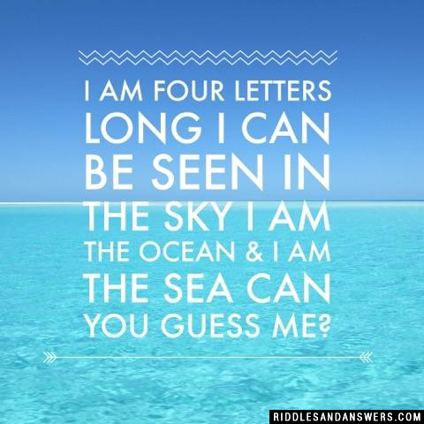 I am four letters long I can be seen in the sky I am the ocean & I am the sea Can you guess me?