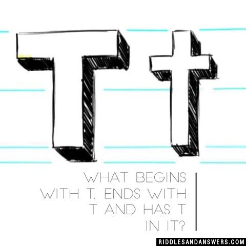 What begins with T, ends with T and has T in it?