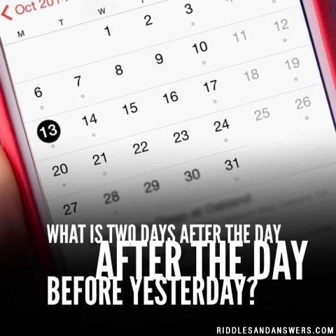 What is two days after the day after the day before yesterday?