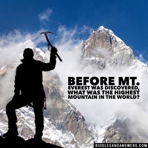 Before Mt. Everest was discovered, what was the highest mountain in the world?