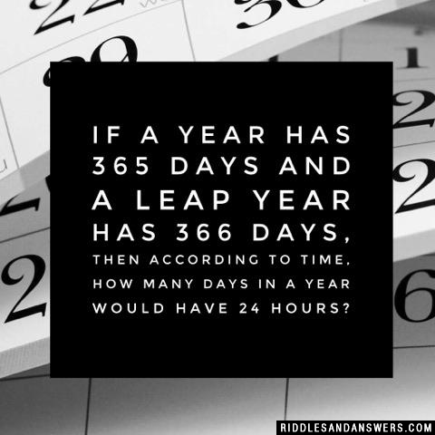 If a year has 365 days and a leap year has 366 days, then according to time, how many days in a year would have 24 hours?