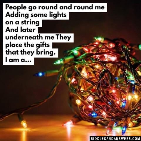 People go round and round me Adding some lights on a string And later underneath me They place the gifts that they bring.  I am a...