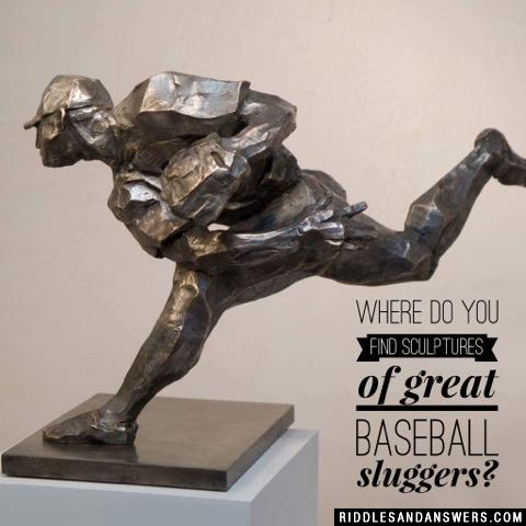Where do you find sculptures of great baseball sluggers?