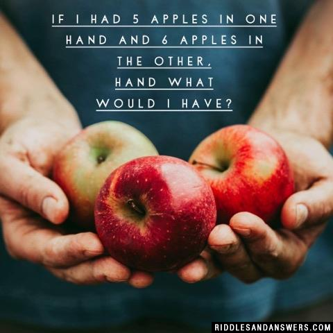 If I had 5 apples in one hand and 6 apples in the other, hand what would I have?