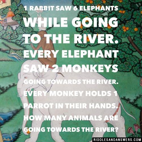 1 rabbit saw 6 elephants while going to the river. Every elephant saw 2 monkeys going towards the river. Every monkey holds 1 parrot in their hands.  How many Animals are going towards the river?