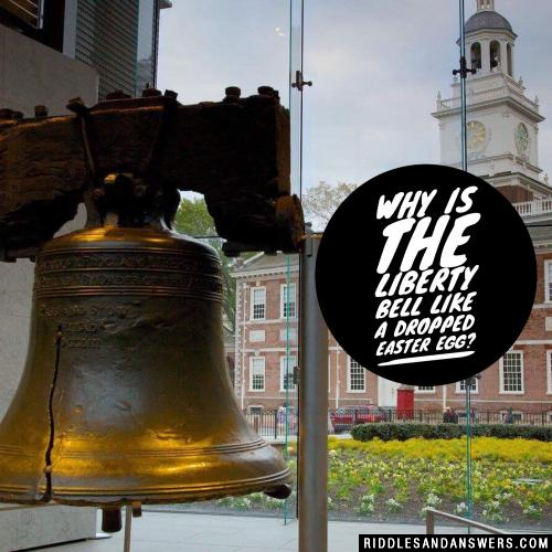 Why is the Liberty Bell like a dropped Easter egg?