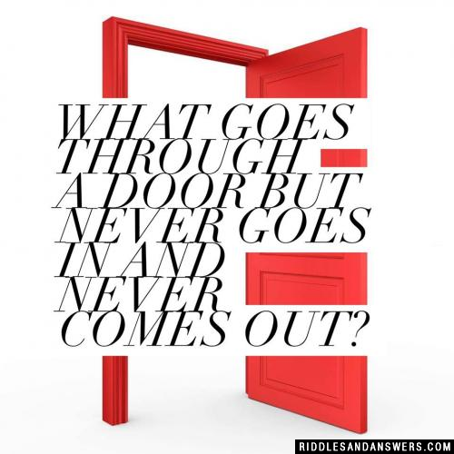 What goes through a door but never goes in and never comes out?