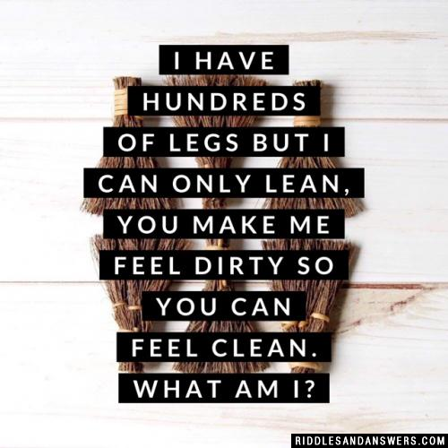 I have hundreds of legs but I can only lean,