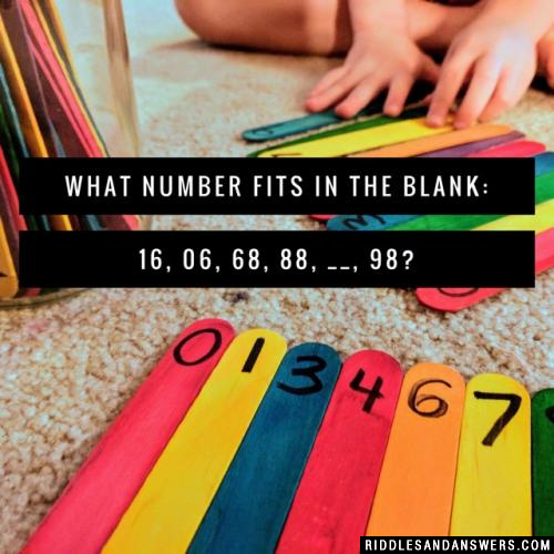 What number fits in the blank: 16, 06, 68, 88, __, 98?