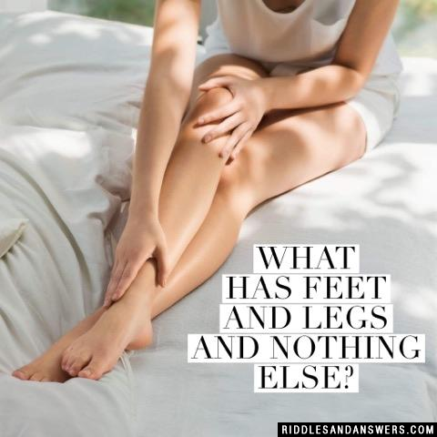 What has feet and legs and nothing else?