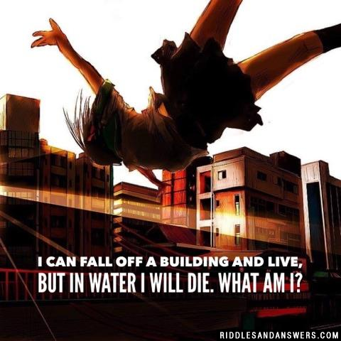 I can fall off a building and live, but in water I will die. What am I?