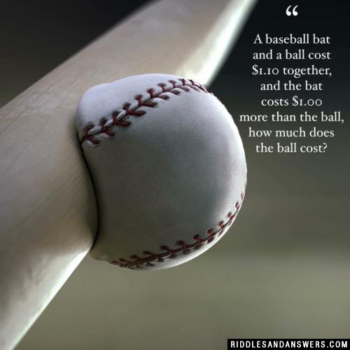 A baseball bat and a ball cost $1.10 together, and the bat costs $1.00 more than the ball, how much does the ball cost?