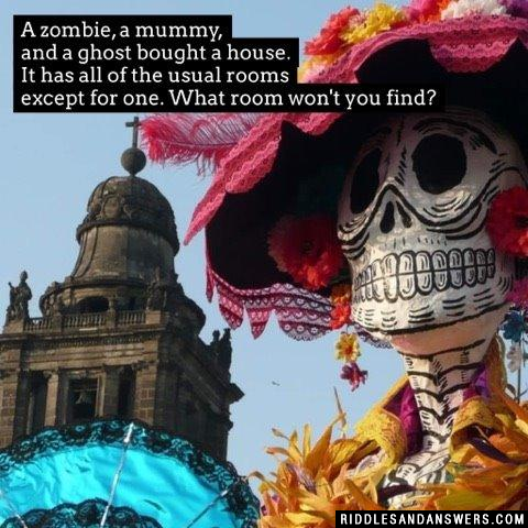 A zombie, a mummy, and a ghost bought a house. It has all of the usual rooms except for one. What room won't you find?
