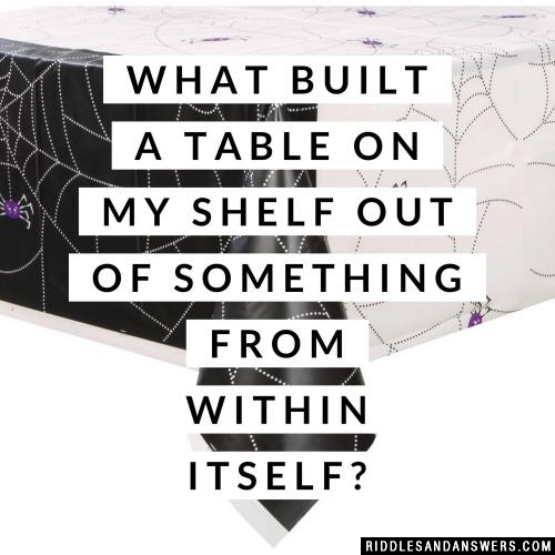 What built a table on my shelf out of something from within itself?