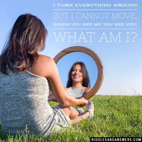 I turn everything around but I cannot move. When you see me you see you! What am I?