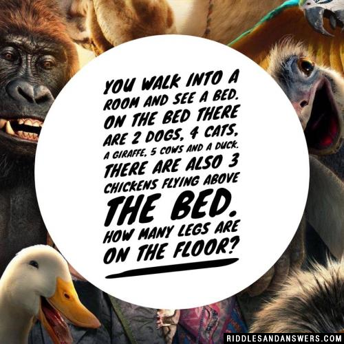 You walk into a room and see a bed. On the bed there are 2 dogs, 4 cats, a giraffe, 5 cows and a duck. There are also 3 chickens flying above the bed. How many legs are on the floor?