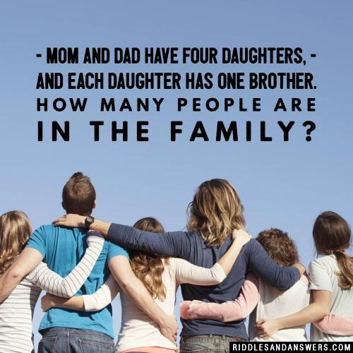 Mom and dad have four daughters, and each daughter has one brother.