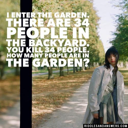 I enter the garden. There are 34 people in the backyard. You kill 34 people. How many people are in the garden?