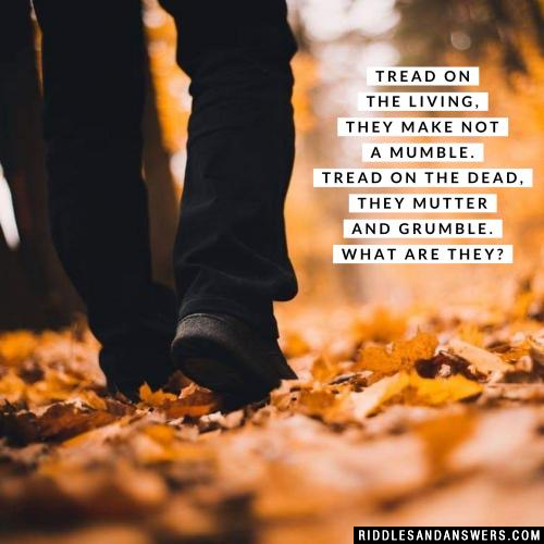 Tread on the living, they make not a mumble. Tread on the dead, they mutter and grumble.  What are they?