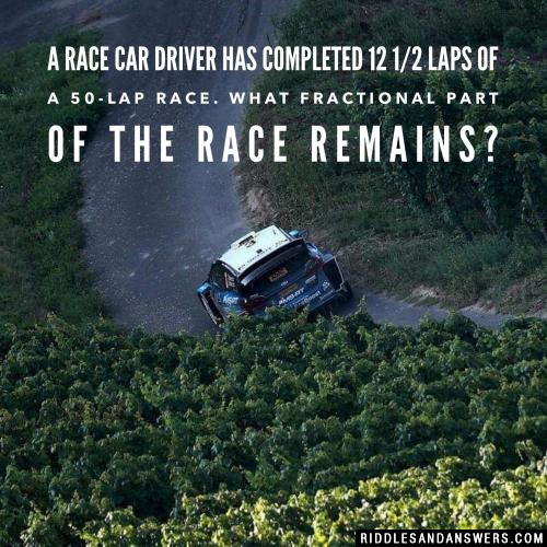 A race car driver has completed 12 1/2 laps of a 50-lap race. What fractional part of the race remains?
