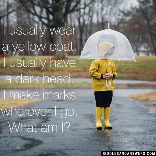 I usually wear a yellow coat. I usually have a dark head. I make marks wherever I go.
